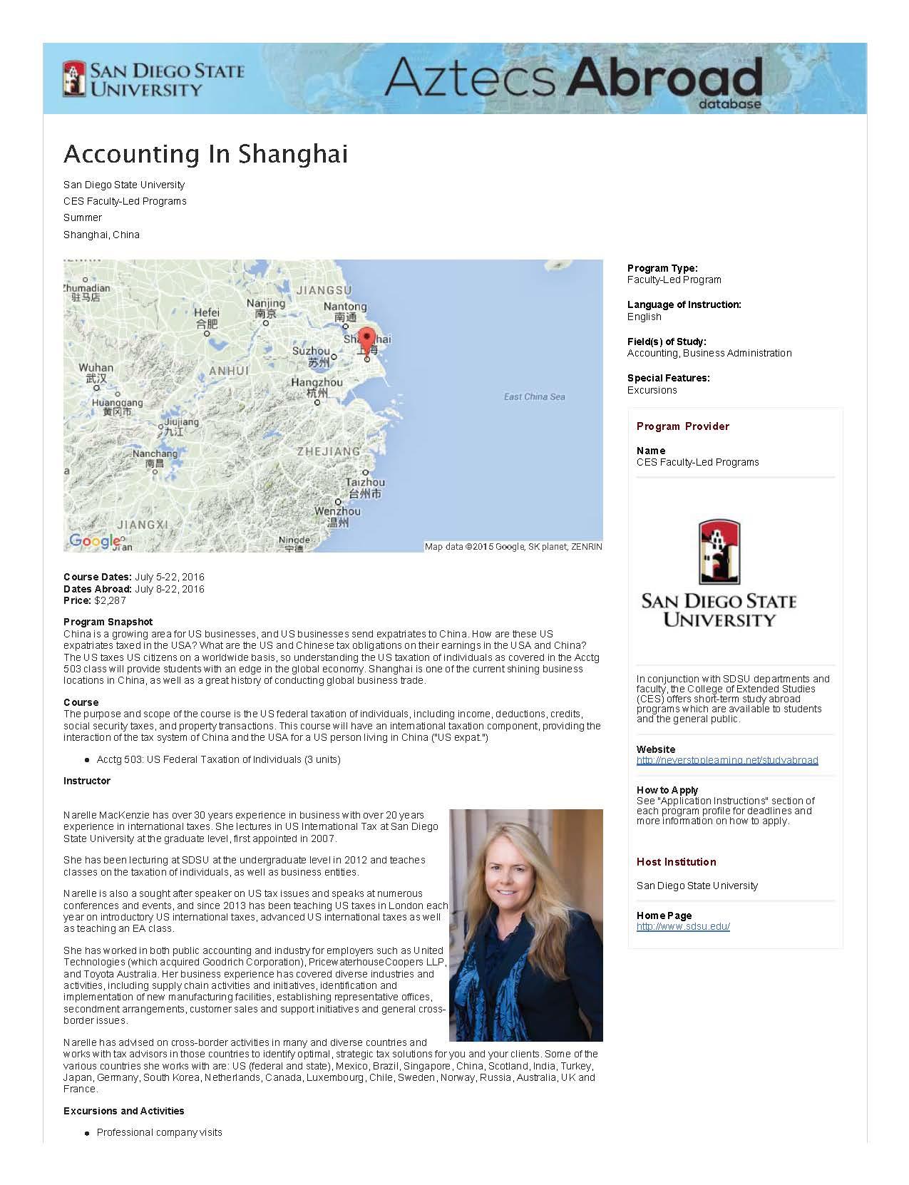SDSU Aztecs Abroad: Accounting in Shanghai – Summer 2016